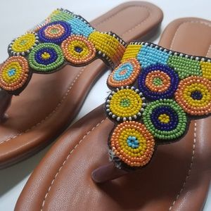 NEW - Beaded slippers from India - Size 7